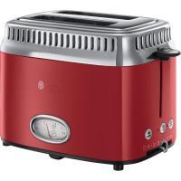 Acheter RUSSELL HOBBS 21680-56 Toaster Grille-Pain Rétro Vintage, Température Ajustable, Rapide, Chauffe Viennoiseries Inclus - Rouge  au meilleur prix