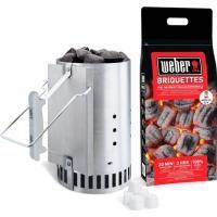 Comparateur de prix WEBER Kit cheminée d'allumage Rapidfire - Avec 2 kg de briquettes + 6 cubes allume-feux