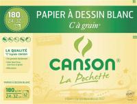 Comparateur de prix CANSON Pochette papier dessin C à grain - 24 x 32 cm - 180g - 12 feuilles - Blanc