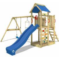 Acheter WICKEY Aire de jeux MultiFlyer Portique de jeux en bois Tour d'escalade avec balançoire, toboggan bleu, mur d'escalade, échelle de cordes, bac à sable + Accessoires au meilleur prix