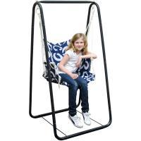 AMANKA Balançoire complète: Chaise + châssis en métal pour Les Enfants et Les Adultes avec accoudoirs et Dossier en Nylon rembourrée pour la Maison et Le Jardin Bleu