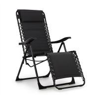Acheter blumfeldt California Dreaming Chaise de jardin transat pliant cadre acier noir  au meilleur prix