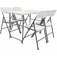Acheter Ensemble de Meubles de Jardin avec 4 Chaises 120cm Table Pliable Blanc Plastique - AMANKA  au meilleur prix