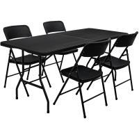 Acheter Ensemble de meubles de jardin Table de 180cm 4 chaises Pliable Aspect Rotin Noir - AMANKA  au meilleur prix