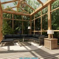 Acheter vidaXL Mobilier de Jardin 8 pcs avec Coussins Résine tressée Gris au meilleur prix