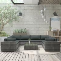Acheter vidaXL Mobilier de Jardin 9 pcs avec Coussins RÃsine tressÃe Gris au meilleur prix