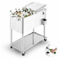 blumfeldt Springbreak - Bar Mobile, glacière frigorifique pour terrasse et Jardin, contenance de 80L (décapsuleur et Receptacle à Capsules, roulettes, vidange Facile) - INOX