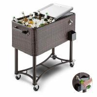 blumfeldt Springbreak - Bar Mobile, glacière frigorifique pour terrasse et Jardin, contenance de 80L (décapsuleur et Receptacle à Capsules, roulettes, vidange Facile) - rotin