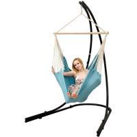 AMANKA Support Hamac 210cm avec Chaise Suspendu XXL Fauteuil Pivotant 360° Bleu