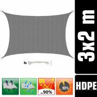 Acheter AMANKA Voile d'ombrage UV - 3x2m HDPE Rectangulaire Protection Solaire Toile de Jardin Balcon Gris au meilleur prix