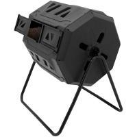 Comparateur de prix ECD Germany Composteur Tambour à Double Chambre - Rotatif - 160 litres - Noir - en Plastique - avec Aération - Tonneau de Compostage sur Pieds - Conteneur Bac à Compost pour