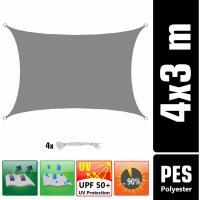 Acheter UPF50+ Voile d'ombrage UV 3x4 m Polyester Rectangle Protection Hydrofuge gris - AMANKA  au meilleur prix