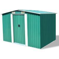 Comparateur de prix vidaXL Abri de stockage pour jardin Métal Vert 257 x 205 x 178 cm