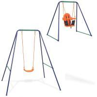 Acheter vidaXL Balançoire simple 2-en-1 et balançoire pour tout-petits Orange au meilleur prix
