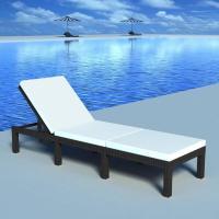 Acheter vidaXL Chaise longue avec coussin Résine tressée Noir au meilleur prix