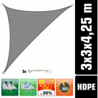 Comparateur de prix Voile d'ombrage UV 3x3x4,25 HDPE Triangle Protection Solaire Toile Jardin gris