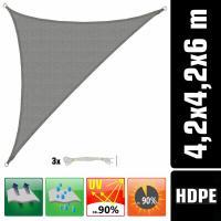 Acheter UV Sonnensegel 4,2x4,2x6 HDPE Dreieck Rechtwinklig Sonnenschutz Garten Grau au meilleur prix