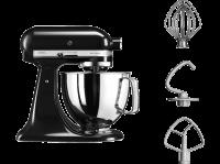 Acheter Robot sur socle à tête inclinable KitchenAid Artisan 5KSM125EOB 4,8L Noir onyx au meilleur prix