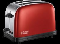RUSSELL HOBBS 23330-56 Toaster Grille Pain Colours Plus, Cuisson Rapide Uniforme, Contrôle Brunissage, Chauffe Viennoiserie - Rouge
